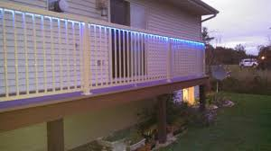 beige regal railing with led lights can really add to your deck