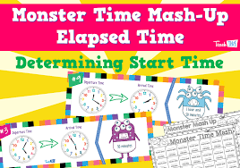 monster time mash up elapsed time fun printable classroom