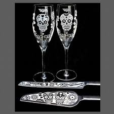 personalized wedding serving set personalized sugar skull wedding serving set by bradgoodell on zibbet