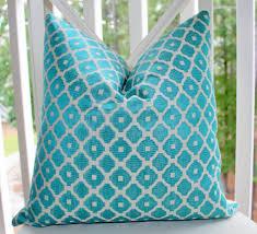 home decor weight fabric turquoise throw pillows hidden zipper geometric pattern aqua