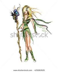 elf druid forest fairy nymph stock illustration 425082826