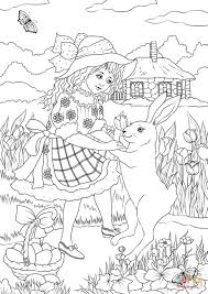 a in a victorian dress is dancing with a rabbit coloring page