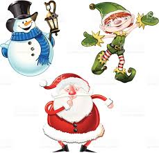 snowman holding lanter elf and santa claus characters stock vector