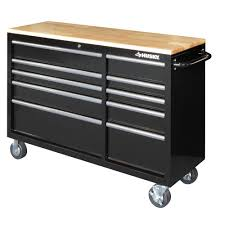 husky 52 in 10 drawer mobile workbench with solid wood top black
