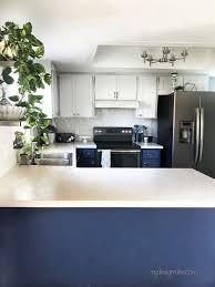 blue endeavor kitchen cabinets diy kitchen makeover on a budget beginner s story my
