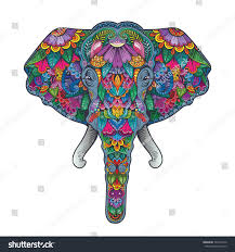 vector color flower pattern elephant head stock vector 394219150