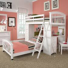 White Wood Loft Bed With Desk by White Wooden Bunk Bed Having Striped Blanket With White Wooden