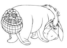 winnie the pooh easter basket eeyore with easter basket coloring page free printable coloring pages