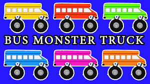 kids monster truck video monster truck buses teaching colors monster truck videos
