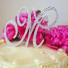 swarovski crystal monogrammed wedding cake topper fully