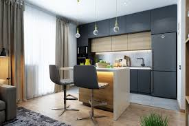 kitchen studio apartments kitchen with charcoal grey and wood