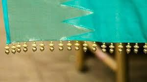 how to make simple u0026 easy saree kuchu design using gold beads at