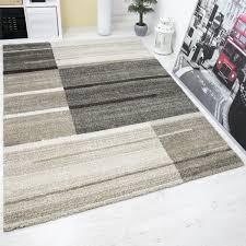 Wohnzimmer Teppiche Modern Hochwertiger Wohnraum Teppich Beige Grau Kariert Modern Dichter