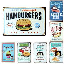 Buy Shabby Chic Decor by Aliexpress Com Buy Vintage Metal Signs Hamburgers Dogs Apple