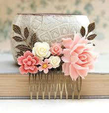 Shabby Chic Wedding Accessories by Pink Rose Comb Big Pink Rose Coral Flower Comb Shabby Wedding