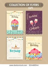 many stock birthday party invitation card vector creation set four birthday party flyers invitation stock vector 624466544