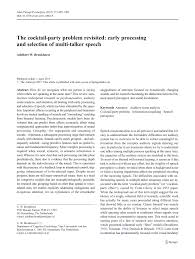 the cocktail party phenomenon a review of research on speech