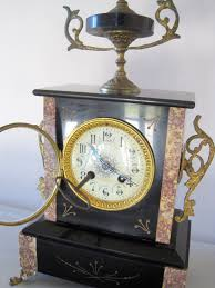Chiming Mantel Clock Item Is Now Sold Antique French Slate U0026 Marble Chiming Mantle