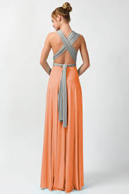 gray and light orange convertible dresses two tone maxi dresses