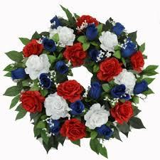white and blue floral arrangements patriotic white blue door wreath floral home decor silk
