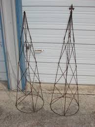2 cone shaped garden trellis