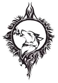wonderful tribal wolf tattoo design