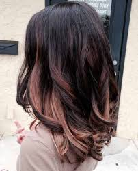 rose gold lowlights on dark hair rose gold highlights on black hair hair color pinterest rose