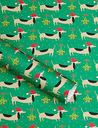 dachshund christmas wrapping paper dachshund mistletoe 4m christmas wrapping paper m s