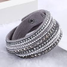 leather crystal bracelet images Artilady wrap leather bangle charm winter leather bracelet women jpg