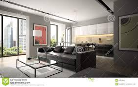 Wohnzimmer Einrichten Mit Schwarzem Sofa Moderner Innenraum Mit Schwarzem Sofa Und Parkettboden Stock