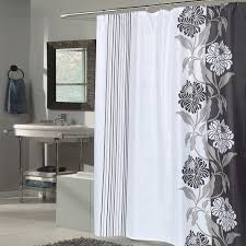 Unique Fabric Shower Curtains Beautiful Black And White Flower Motif Fabric Shower