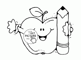 funny apple with pencil coloring page for kids back to