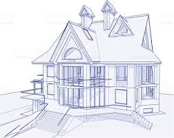 house blue print house blueprint 3d technical concept draw stock vector art