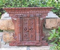 Antique Wood Wall Decor Exquisite Hand Carved Wood Asthamangal Door Pediment Hanging Wall