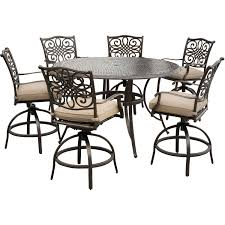 traditions 7 piece high dining bar set in tan with 56 in cast top