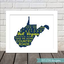 Wvu Home Decor Take Me Home Country Roads Lyrics West Virginia Print Can