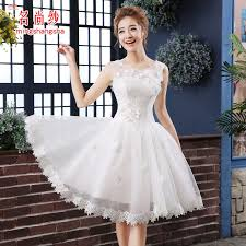 wedding dress pendek white beading high waist lace yarn shoulder princess