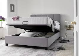 Grey Upholstered Ottoman Bed Florence Wolf Grey Upholstered Ottoman Bed Frame Storage Beds Beds