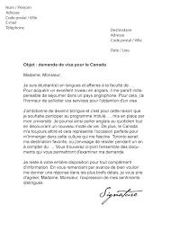 bureau des visas canada lettre de demande de visa pour le canada modèle de lettre
