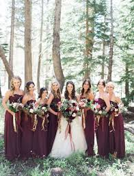 fall wedding inspiration maroon bridesmaids in long wine lace and