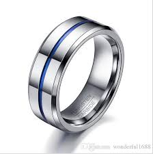 mens rings wedding images Men rings fashion thin blue line tungsten ring wedding brand 8mm jpg