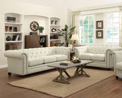 Discount Chesterfield Sofa Living Room Furniture Sets With White Fabric Chesterfield