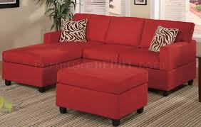 reversible sectional sofas f7668 small sectional sofa in red microfiber by poundex