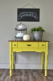 english yellow chalk paint on small buffet table funky junk