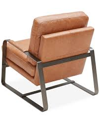 Brown Leather Accent Chair Jollene Leather Accent Chair Created For Macy S Furniture Macy S