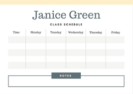 class schedule templates canva