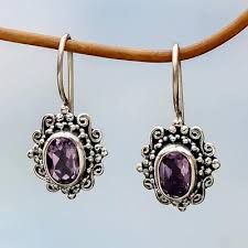 purple drop earrings made amethyst sterling silver drop earrings indonesia
