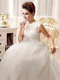 Wedding Dresses With Bows Ivory Sash Bows Lace A Line Wedding Dress For Women Milanoo Com