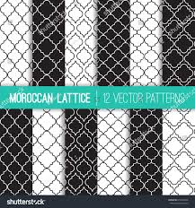 black white moroccan lattice vector patterns stock vector