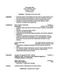 Fire Department Resume Emt Resume Examples Poserforum Net